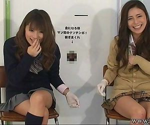 Japanese femdom give handjob and cunnilingus to slave for cash. - 4 min