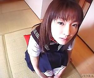Subtitled spread Japanese schoolgirl defiled with candy 5 min