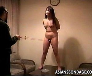 Loud ass Asian slut getting slapped and is tied up - 8 min