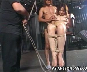 Asian hottie tied up to try a bdsm session - 8 min