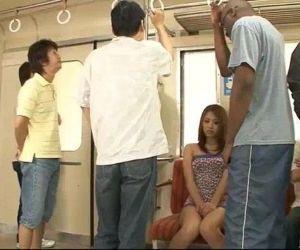 Japanese sweetheart Mizuki Iori abused on the subway by thugs - 5 min