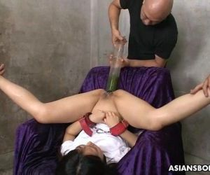 Filling her ass and pussy with all kinds of liquids - 55 sec
