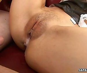 Three dudes order a creamy delight from a hot Asian waitress 59 sec