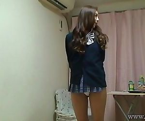 Naked Japanese Madoka wears a Miniskirt School Uniform 43 sec HD