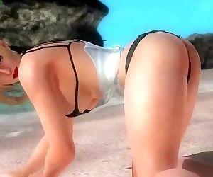 Dead or alive 5 sexy blonde MILF rachel in tight micro bikini ass exposed !
