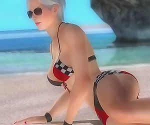 Dead or alive 5 Christie hot matue blonde big ass in tight race queen thong