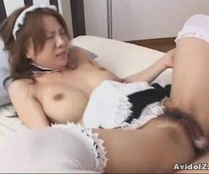 Japanes babe fucked dressed as a maid Uncensored - 7 min