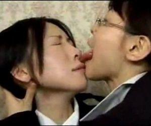 Asian Lesbian Wild Tongue Kiss - 6 min