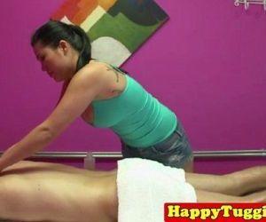 Busty tugging asian masseuse - 8 min HD