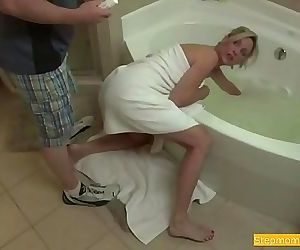 Blonde Stepmom Blackmailed and Forced While Stuck in Tub 6 min HD