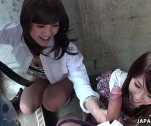 Two slutty Asian sluts sucking dudes on the stairwell - 8 min HD