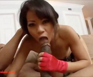 tiny asian slut gets huge big long black cock plowed and huge facial