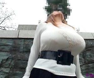 Amateur busty asian with monster big tits posing in public..