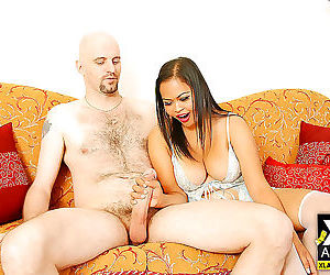 Chunky asian girl nid sucks cock and gets fucked by white..