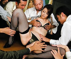 Kinky maki hojo takes on a group of horny guys with stiff..