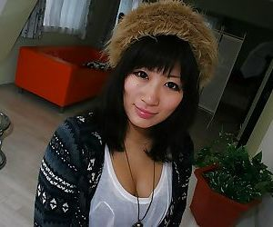 Loveable asian teen Kotomi Ishioka undressing and toying..