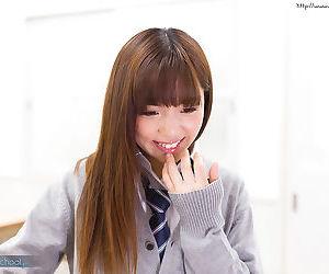 Petite Japanese schoolgirl caught masturbating in class..