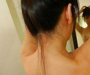 Asian gal with hard nipples Harue Nomura taking shower and..
