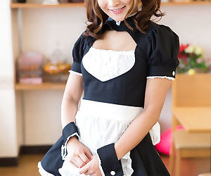 Cute Japanese maid gives her boss a handjob after he..