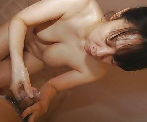 Naughty asian MILF with chubby curves goes down on a..
