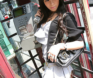 Graceful asian teenage fashionmonger stripping off her..