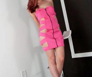 Hot redhead Japanese Sydney Mai crawls in heels stark..