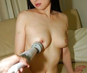 Sassy asian chick gets her hairy cooter pleased with a..