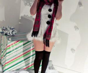 Hot redhead Japanese Sydney Mai in Christmas costume..