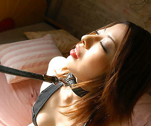 Asian fetish girl in collar and chain leash gets involved..