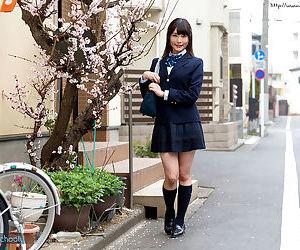Japanese schoolgirl peels off her white cotton underwear..