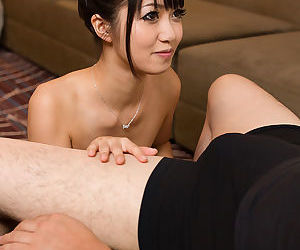 Asian beauty licks sperm off fingers after giving the best..