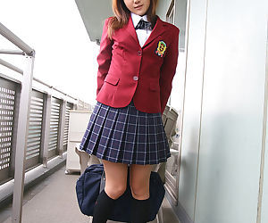 Lusty asian coed in uniform flashing her panties and tiny..