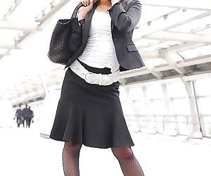 Kaori japanese office babe in pantyhose shows tits - part..