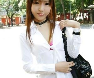 Sweet japanese student miyo shows tits and panties - part..