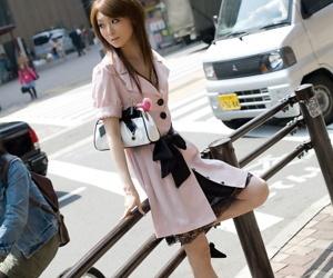 Slender Japanese teen Rika Sakurai exposes her natural..