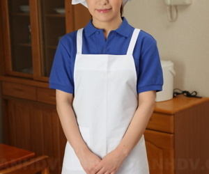 Japanese female Yukari Toudou does her housework in white..