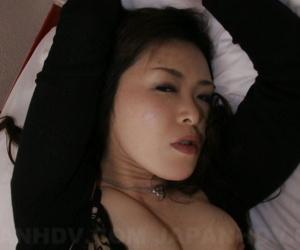 Japanese Sayaka Takase in black lingerie gets sticky cum..