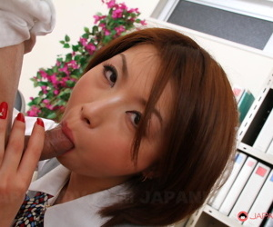Japanese secretary Tsubaki oozes cum from her beaver after..