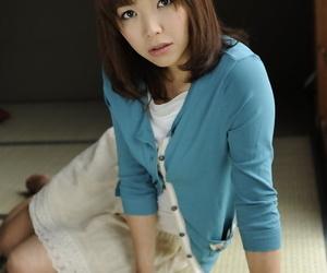 Japanese solo girl Juri Kitahara tentatively shows her..