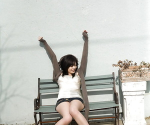 Adorable asian babe with sexy legs China Yuki slipping off..
