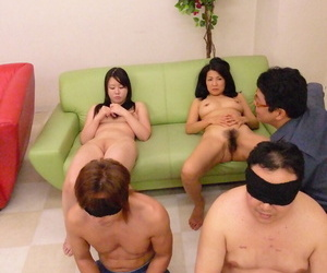 Horny Japanese wives get their super hairy twats fingered..