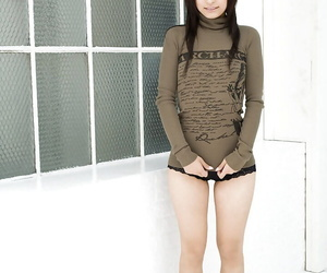 Stunning asian babe Misaki Mori uncovering her tits and..