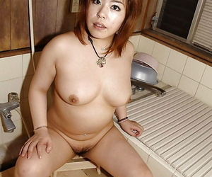 Fatty asian MILF Kana Miyagi teasing her hairy twat and..
