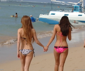 Adorable teen friends Faye and Larysa strip in public and..
