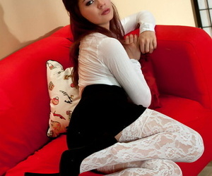 Japanese redhead Sydney Mai in lace stockings toying her..