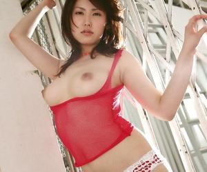 Seductive asian babe with hot ass Takako Kitahara posing..