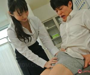 Kinky Asian girl Tomomi Motozawa removes her undies &..