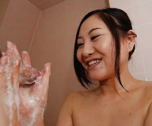Risa Okamoto gives a sloppy blowjob and gets her hairy..