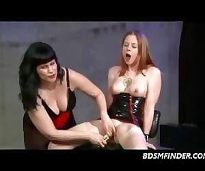 Femdom Lesbian Spank Toy And..