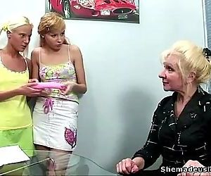 Two blonde russian teens get a..